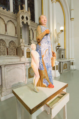 Janet Mullarney, Domestic Gods II, 1998, wood, plaster, wallpaper, mixed media